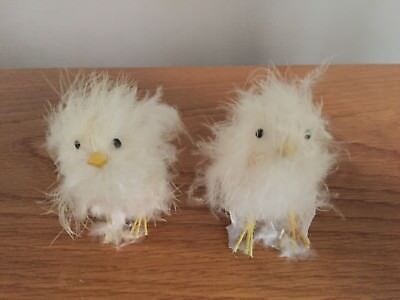 """two vintage REAL WHITE FEATHER CHICKS BIRDS - 2.5"""" figurine - EASTER - free ship"""