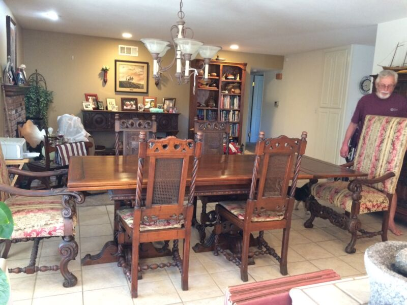 Dining Set,circa 1915. Includes china cabinet,buffet, server table and chairs