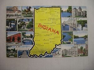 VINTAGE LINEN POSTCARD WITH INDIANA STATE MAP & VARIOUS SIGHTS & ATTRACTIONS
