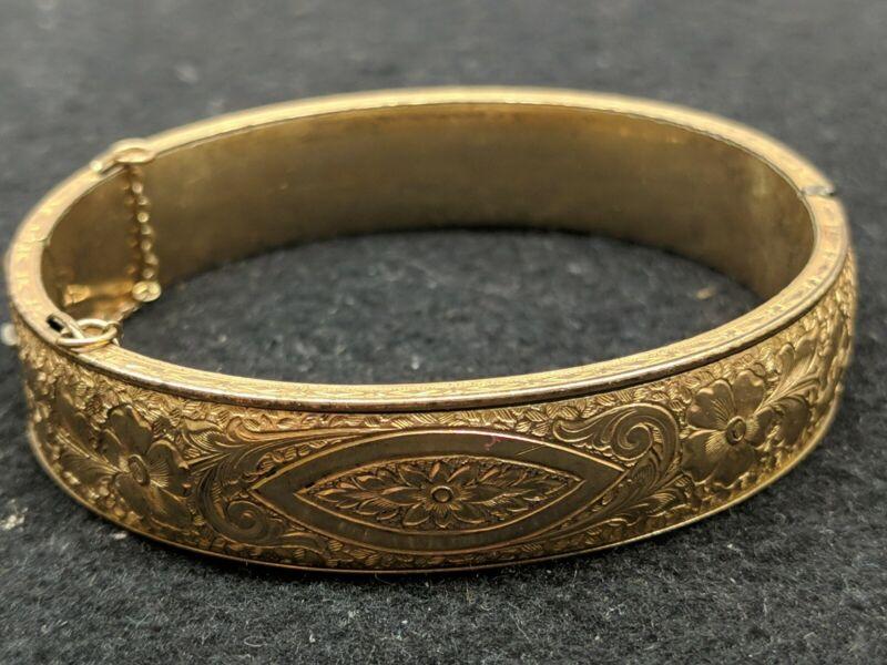 VINTAGE ANTIQUE EARLY GOLD FILLED HINGED BANGLE BRACELET