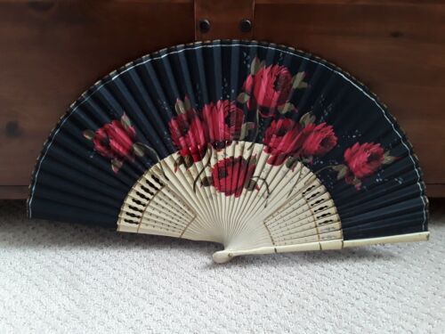 Vintage Hand Painted Floral Black Silk/Cream Folding Victorian Style Fan