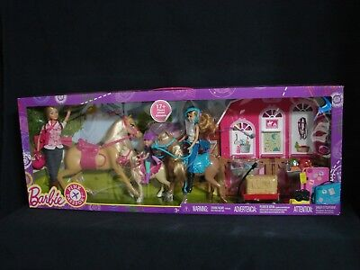 Barbie Pink Passport Horses and Ranch Playset Stacie Chelsea Barbie Dolls New