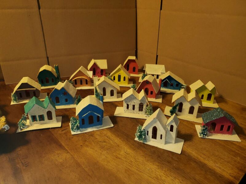 Vintage Mica Cardboard Christmas Putz House Lot of 18- Made in Japan