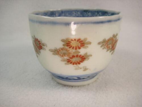 ANTIQUE JAPANESE (c. 1870) MEIJI ERA HAND PAINTED CERAMIC TEA CUP FLORAL