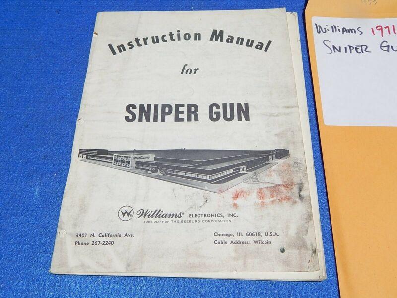 1971 Williams SNIPER GUN Instruction Manual