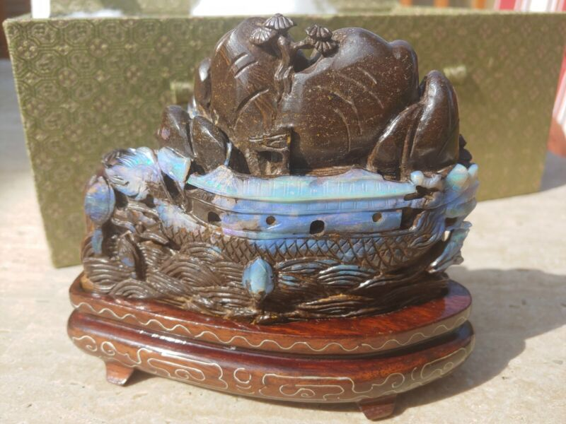 Antique Chinese Boulder Opal Statue