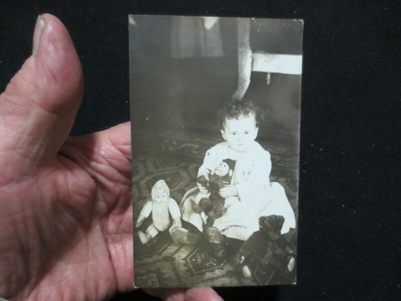 RPPC LITTLE GIRL WITH HER STEIFF MONKEY AND TEDDY BEAR-PHOTOGRAPH-DOLLS 1913