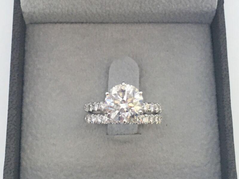 Diamond Ring Band Set Round Cut 14 Karat White Gold 4 Ct Appraised Natural
