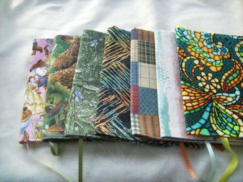 "Hamdmade fabric book covers 5 1/2"" x 8 1/2"""