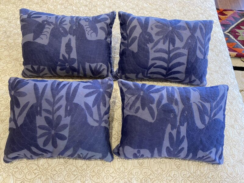 """Set Of 4 Mexican blue embroidered pillows  rabbit scenes On Each & 15""""x11"""" Each"""