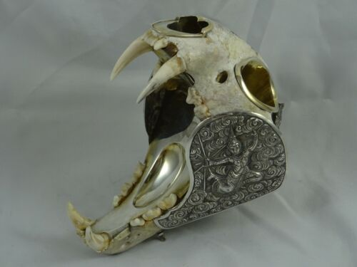 EXTREMELY rare SIAM ( Thailand) sterling `SKULL`,  SMOKERS COMPENDIUM , c1910