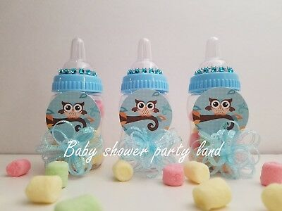 Baby Shower 12 Owl Favor Fillable Bottles Prizes Games Boy Blue Decorations - Owl Boy Baby Shower
