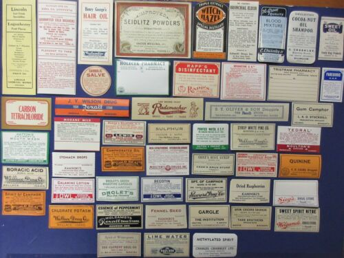 50+OLD PHARMACY-APOTHECARY-MEDICINE BOTTLE LABELS=NICE LARGE LABELS TOO