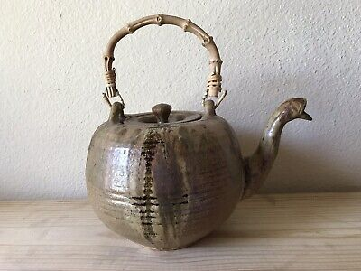Clay Teapot with Bamboo Handle. Handmade and Signed. Brown Teapot.