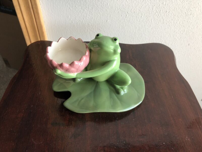 PartyLite Frog Lily Pad Tealight Candle Holder Votive Green Pink