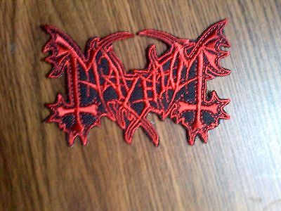 MAYHEM,IRON ON RED EMBROIDERED PATCH