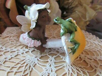 Ebony Baby Fairy With Frog On Mushroom Figurine Top Land Trading New in Box