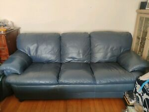 Blue leather couch set 3 and 1 seaters lounge suite