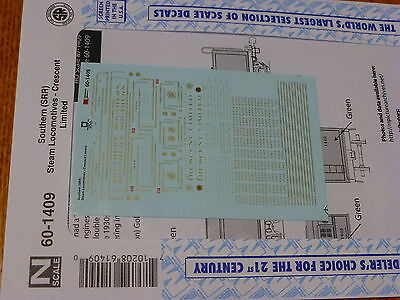 Microscale Decal N #60-1409 Southern (SRR) Steam Locomitives - Crescent Limited