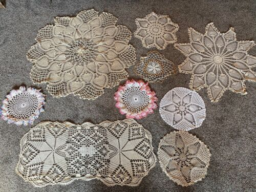 LOT of 9 Vintage Handmade Crocheted Doilies Doily