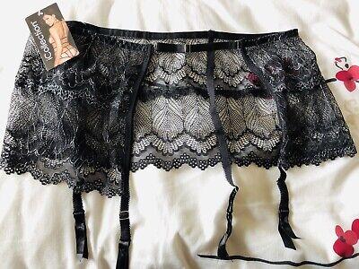 iCollection Women's Black Mesh Garter Skirt With Suspenders Very Flattering