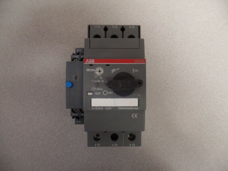 ABB Manual Motor Protector, Class 20, 14-20A, MS451-20E, New without box