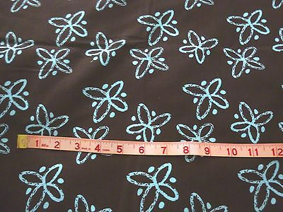 """100% cotton,quilting weight fabric-brown with aqua design-36"""" x 43"""""""