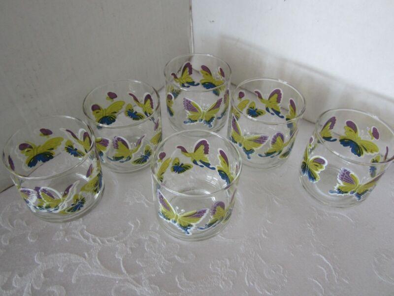 Vintage MCM SET 6 Libbey Clear GLASS TUMBLERS w/ BUTTERFLIES DECOR  8 Oz.