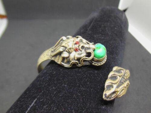Vintage Estate Chinese Export Tibetan Silver Dragon Serpent Turquoise Bracelet