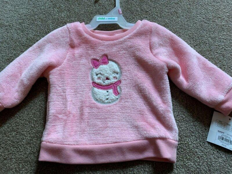 NWT Jumping Beans Baby Girls Pink Snowman Fuzzy Boa Sweatshirt - Size 6 Mths