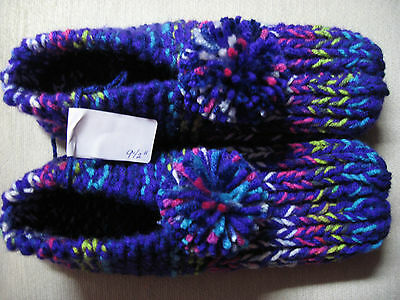 """Amish Handmade Knit House Slippers w/pompoms Purple Mix Wms Lg Mans Med 9 1/2"""""""