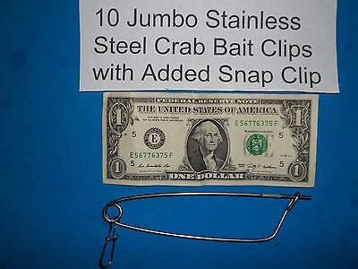 - 10 Crabbing Crab Trap Jumbo Bait Clips Stainless Steel Net Line Pin CrabHoudini