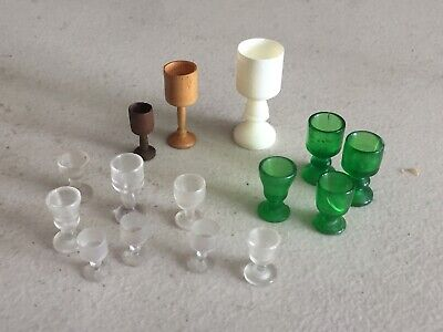 LOT of 15 Vintage Dollhouse Miniatures Plastic & Wood Wine or Water Goblets Antique Water Goblets