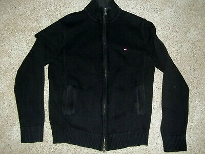 TOMMY HILFIGER Zip Up Black Sweater - Men's Size Small - 100% Cotton