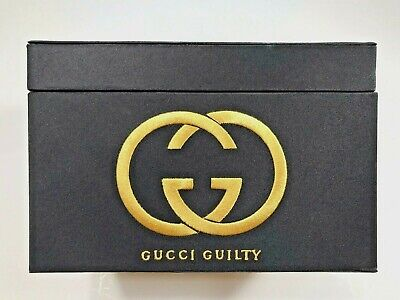 GUCCI GUILTY Perfume Box Black w/GOLD Letters Empty Storage for Jewelry/Trinkets