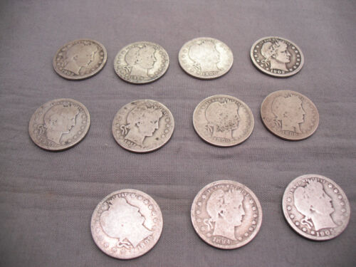 Lot of 11 U.S. Quarter Dollar Coins Free Shippings Various years  1892-1911