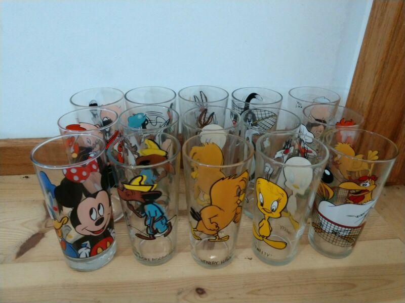 Lot of 15 Vintage Character Drinking Glass Slowpoke Sanchez Henry Hawk foghorn