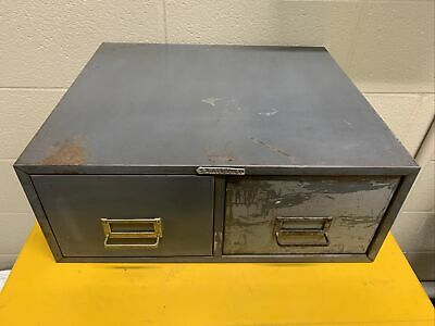 Vtg Steelmaster Two Drawer Index Card Stackable Metal File Cabinet Storage Gray