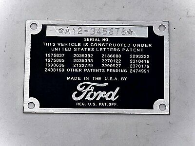 Stamped Ford Car or Pickup Truck DATA PLATE  1942 1946 1947 1948