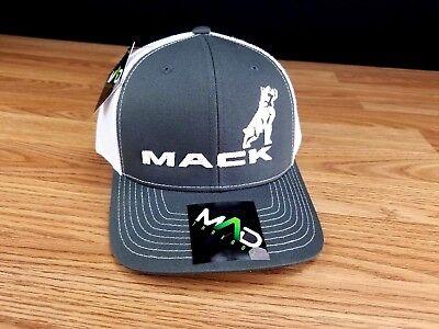 Mack Trucks Charcoal & White Bulldog Logo Trucker Style Hat/Cap Richarson 112 3D - Mack Truck Hats