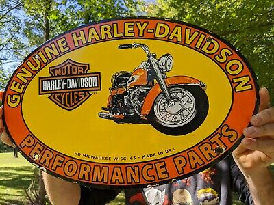 VINTAGE 1963 HARLEY MOTORCYCLE PORCELAIN ADVERTISING SIGN DEALER MILWAUKEE WISC.