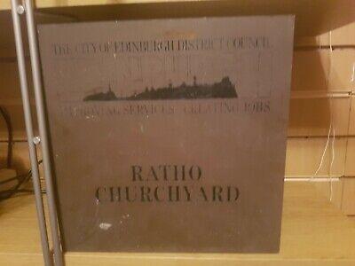 Vintage Heavy Brass Plaque Sign Edinburgh ratio churchyard
