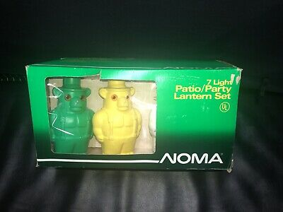 VTG Rare Noma Smokey The Bear Blow Mold Patio Party Lights Lantern Set MIB New