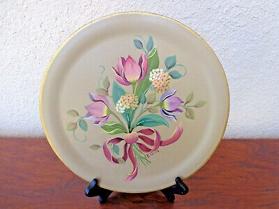 Vintage Floral Tole Wood PLATE Decorative Hand Painted Tray Toleware 11.5