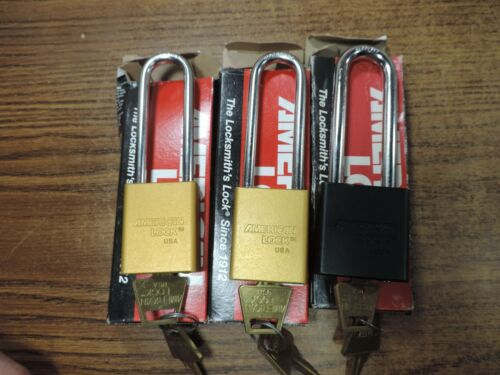 3 long shank American Lock Padlocks Mixed Old Stock Banged up boxes