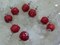 Orecchini Di Corallo Rosso Autentico 14-16 Mm Montatura In Argento 925 -  - ebay.it