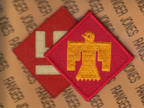 "Pre-WWII design & Modern 45th Infantry Division 3.5"" veterans patch c/e m/e set"