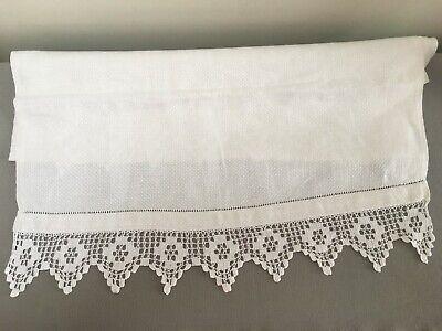 Victorian huckaback linen towel  ladder hem crochet borders 58 x 90 cm