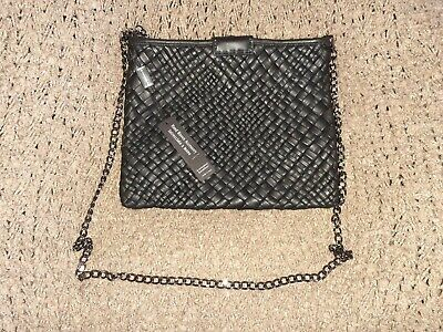 FALOR Firenze ITALY-Hand Woven Black Leather Crossbody/Clutch/Shoulder Bag-NWT