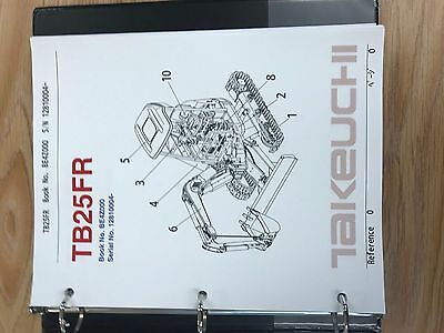 Takeuchi Tb25fr Parts Manual Sn 12810004 Free Priority Shipping